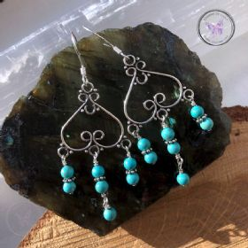 Turquoise Silver Chandelier Earrings